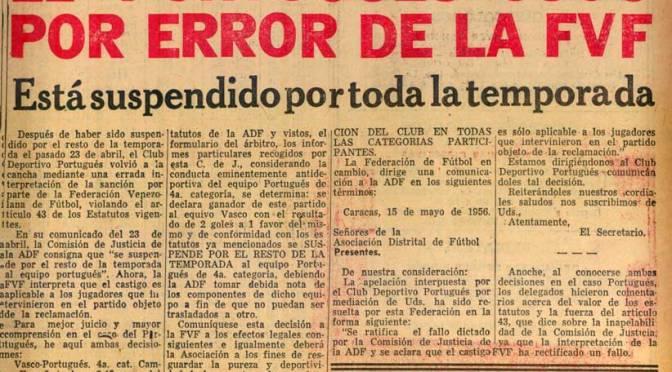 AÑO 1956: El Club Deportivo Portugués jugo por error de la FVF
